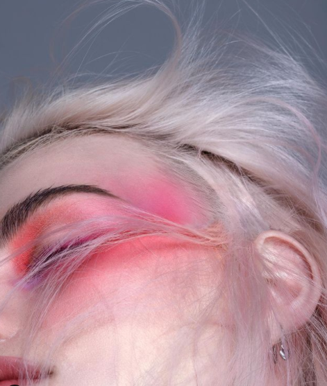 head with pink makeup