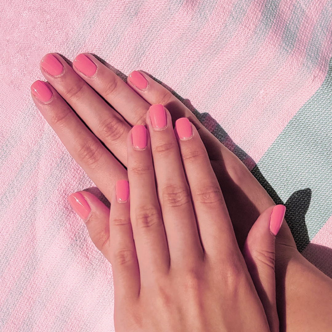 Hands with pink nails